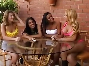Shemale, girl and boys orgy