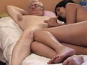 Old daddy and young Thai tgirl have fun in bedroom