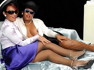 Priscilla and Bianca are bored... so this two hot elegant trannies decided to have fun with each others, by fucking hard with her cocks!