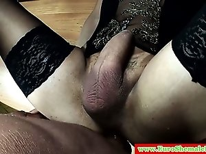 Italian shemale blows her sticky load
