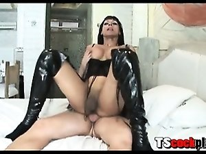 Hot shemale slut with fake big tits wearing a black seductive lingerie fucked up her tight ass